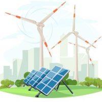 Solar panels and wind turbines, green energy, urban landscape, ecology. Ecological sustainable energy supply. Vector illustration